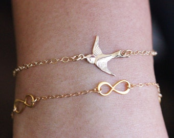 Bird Bracelet, Gold Bird Bracelet , Swallow Bird Initials Bracelet, Everyday Jewelry , Personalized Gift , Mothers Gift , Layere bracelet