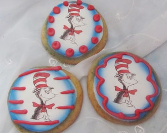 12 Dr. Suess Cat in the Hat sugar cookies