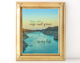 Ease and Grace Quote / Every Day Spirit / Inspirational Quote / Yoga Teacher Gift / Affirmation / Encouraging Print / Yoga Quote / Grace