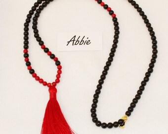 Tassel Necklace, Bead Necklace, Red Necklace, Black Necklace, Silk Tassel Pendant