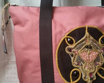 Cotton canvas bag with hand embroidery beads