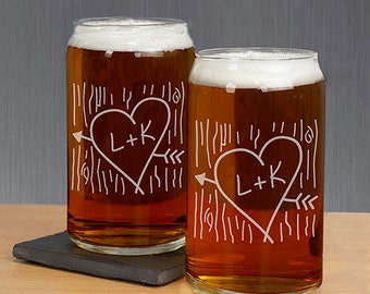 Beer Can Glass Set, Engraved Beer Can Glass, Couples Tree Carving Beer Glass Set