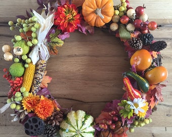 Fall Harvest Wreath, Thanksgiving Wreath, Front Door Wreath, Holiday Decor