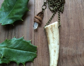 Antler Talisman Quartz and Chain Layering Necklace