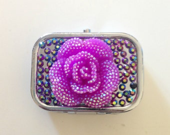 Purple Rose Decoden 2-Compartment Mini Pill Box