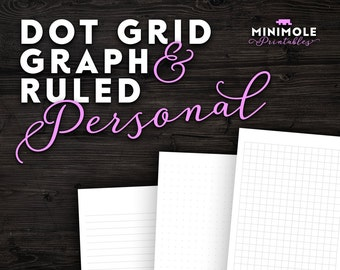 Personal Dot Grid Paper Graph Paper Planner Refill Personal Planner Insert Personal Filofax Personal Insert Filofax Insert Filofax Printable