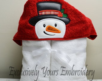 READY TO SHIP Snowman Children's Hooded Towel