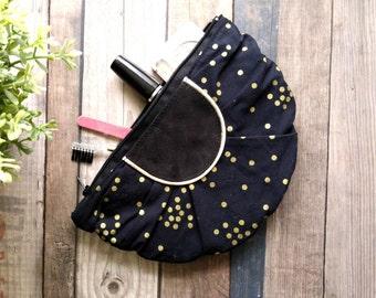 Trousse chic pochette  cuir velours tissu noir et or