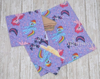 My little pony, Lunch set, reusable sandwich bag, reusable snack bag, cloth napkin, ecofriendly lunch set