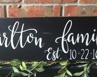 Family name sign|Last name|Wood Sign|Wedding gift|Anniversary gift|Home Decor|Hand Painted|Rustic Home Decor|Custom name sign