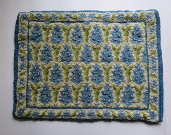 """Vintage hand embroided pillow cover/Handmade decorative pillow/classic greek design/cotton and wool/1960's/tapisserie fabric/19.5""""x14.5"""""""