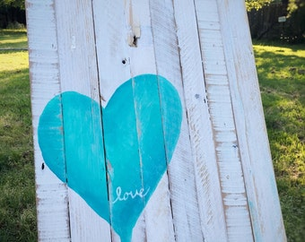 Distressed Heart Reclaimed Wood Wall Hanging Decor Abstract, Nursury Art, Wedding Gift