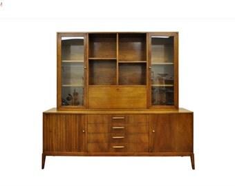 10% Off Sale! Vintage Mid Century Danish Modern Furnette Walnut Credenza China Cabinet w/ Bar