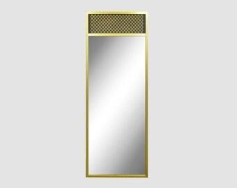 "Vintage 52"" x 21"" Modernist Brass Wall Mirror Mid Century Modern Paul Mccobb Era"