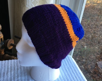 Hand-Knit Hat - Yarn Bomb Stripes