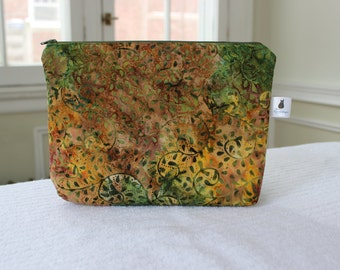 Interchangeable Knitting Needle Case - Green and Gold Batik