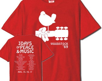 Woodstock 69 - List of Bands on Back RED T-Shirt