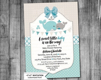 Whale Baby Shower Invitation | Turquoise And Grey | Customized | 5x7 | Printable Invitation | Baby Whale | Boy | Girl | Little Baby