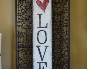 Love sign. 6x26 Hand painted wood sign/ Heart wall decor/ Valentines day sign/ Love wall decor/ Heart sign/ Vertical sign