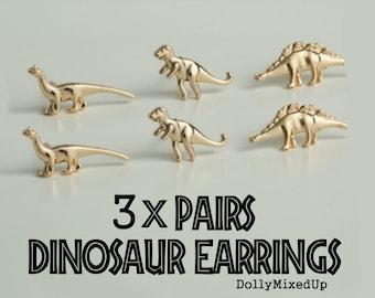 3 x PAIRS Dinosaur Gold Stud Earrings~ T-Rex~ Brontosaurus~ Brachiosaurus ~Quirky Birthday Present/Cute Gift Idea