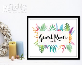 Guest Room Sign - Floral Guest Room Decor - Printable Guest Bedroom Decor - Rustic Be Our Guest Sign - Instant Download Guest Room Wall Art