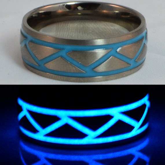 Titanium blue glow in the dark wedding ring for by for Glow in the dark wedding rings