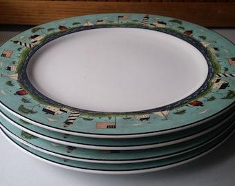 Set of 4 Warren Kimble Coastal Breeze Dinner Plates