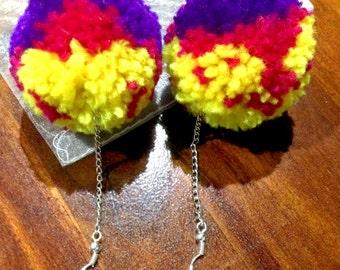 Multi-coloured pompom earrings - yellow, magenta & purple