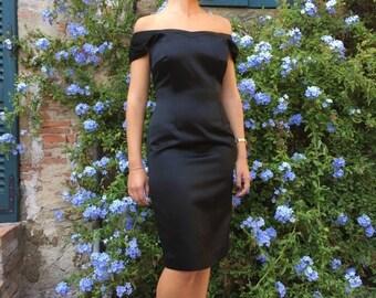 WINTER SALE Little Black Dress / Party Dress / Eleganti Black Dress / Black Satin Mini Dress /Vintage Black Dress size Eu 42 Usa 10 UK 14