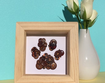 Personalised small paw print artwork - dog lover gift - cat lover gift - pet lover gift