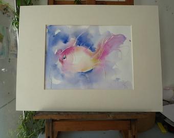 Original Watercolour: fish pink