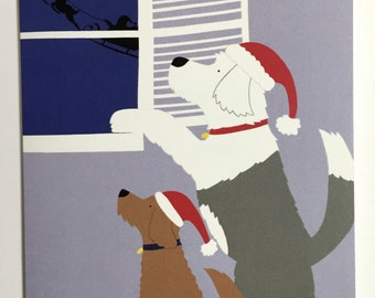 Christmas greeting card, dogs waiting patiently for Santa
