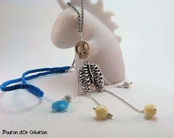Mister Bones Necklace blue
