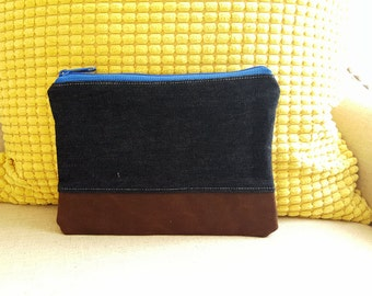 denim and waxed canvas zippered pouch