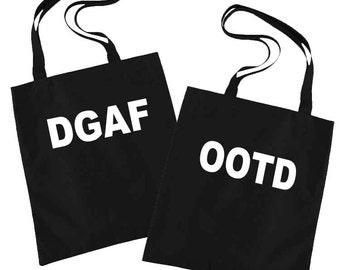 Funny Tote Bag, Gift Bags, Canvas Tote Bag, Funny, Birthday Gifts for Her, Funny Gifts for Friends, Gym Bag, Book Bag, DGAF, OOTD, FOMO, lol