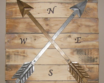 Metal arrows wood sign