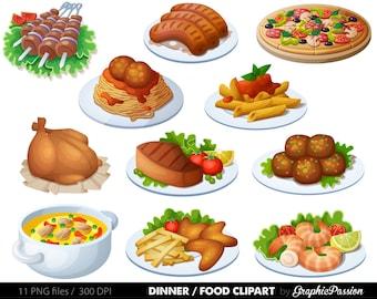 Food Clipart Dinner Clipart Spaghetti Clipart Pizza Clipart Digital food clipart Meatballs clipart