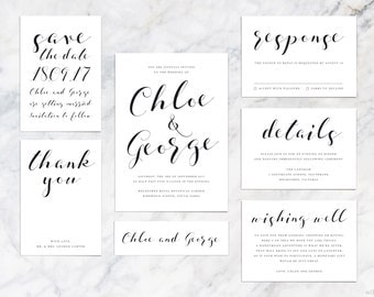 Printable Wedding Invitation Set, Save The Date, Thank You, RSVP, Details, Information, Wishing Well Card