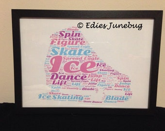 Figure Skater Word Collage, Ice Skating, Personalised Gift, Birthday Gift, Sports Fan, Dancer, For Her, Ice Rink,