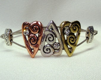 Guitar String Bracelet With Gold Silver Copper Heart Sliders