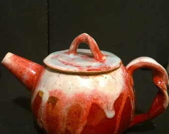 small handmade ceramic teapot red white turquoise