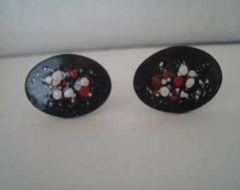 Vintage oval multicolor cufflinks