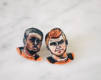 Bengals football earrings - AJ Green and Andy Dalton
