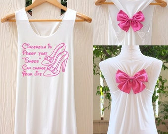 Cinderella is proof that shoes can change your life bow Tank Top. Racerback bow. Disney shirt. Disney Tank Top. Work out tank top. Disney