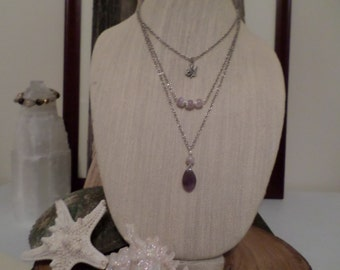 three layer necklace with amethyst