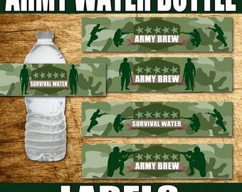 Printable ARMY PARTY, Army Birthday, Army Decorations, Paintball Party, Paintball Birthday, Army Water Bottle Labels, Paintball Water Bottle