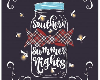 Mason jar, Southern Couture, like Simply Southern,  SC Classic Summer Nights - Navy  short sleeve, Mason Jar, Fireflies