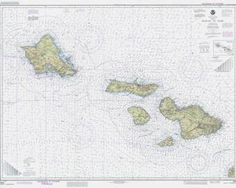 Hawaiian Islands Map - Hawaii to Oahu Historical Map 1990