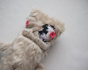 Furry stuffed Monster, handmade monster, fluffy monster, stuffed animal, nursery toy, cute monster, plush monster, plushie