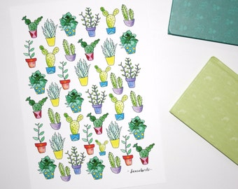 Cactus Print, Succulents Wall Art Print, Succulent Illustration, Desert Art, Garden Print, Cactus Artwork, Pot Plant Drawing, Cacti